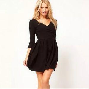 NEW ASOS skater dress with ballet wrap black XS